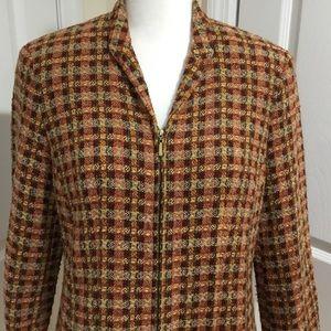 Dress Barn Orange & Brown Check Blazer Jacket 12